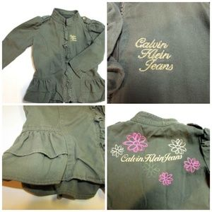 ⏬$22 3T Calvin Klein Ruffled Embroidered Jacket